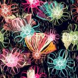 Blom- sömlös modell, textureffekt indisk prydnad Dekorativa blommor och Paisley för vektor Etnisk stil Design vektor illustrationer