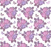 Blom- sömlös prydnad för tappning med fjärilar i pastellfärgade färger Dekorativ prydnadbakgrund för tyg, textil royaltyfri illustrationer