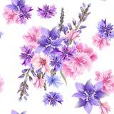 Blom- sömlös vektormodell med blommor i vattenfärgstil stock illustrationer