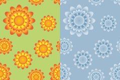 Blom- sömlösa modeller för tusensköna stock illustrationer