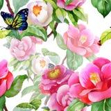 Blom- sömlöst för tappning på vit bakgrund med rosor, fjärilen och lösa blommor, vektorvattenfärgillustration Fotografering för Bildbyråer