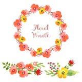 Blom- samling för vattenfärg Royaltyfri Bild