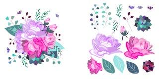 Blom- sammansättning för vektor och isolerade objekt Sommar vår, berömdesign vektor illustrationer