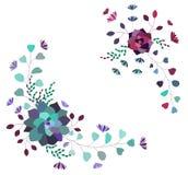 Blom- sammansättning för vektor, uppsättning, samling Moderiktiga suckulenter och sidor vektor illustrationer