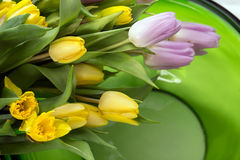 Blom- sammansättning i grön glass bunke Royaltyfria Bilder