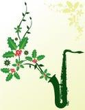blom- saxofon för jul stock illustrationer