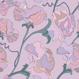 Blom- seamless bakgrund från lila blommor Arkivbild