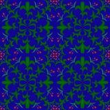 blom- seamless för bakgrund röda blommor och blad dragen vattenfärg på blå bakgrund också vektor för coreldrawillustration Arkivfoto