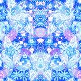 blom- seamless för bakgrund Abstrakt paisley stil blommar på bl Royaltyfri Bild