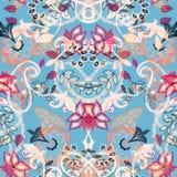 blom- seamless för bakgrund Abstrakt paisley stil blommar på bl Royaltyfria Foton