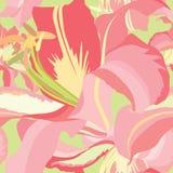 Blom- seamless mönstrar med stillar blommaliljan Arkivbilder