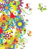 blom- seamless sommar för bakgrundsdag Arkivfoto