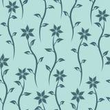 blom- seamless textur Blå bakgrund för vektor Royaltyfri Bild