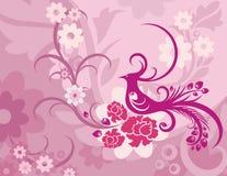 blom- serie för bakgrundsfågel royaltyfri illustrationer