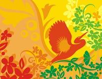 blom- serie för bakgrundsfågel Royaltyfri Fotografi