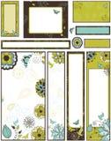 blom- set för baner stock illustrationer