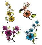blom- set för design royaltyfri illustrationer