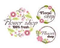 Blom- shoppa för rammallen för emblemet den dekorativa illustrationen för vektorn Arkivbild