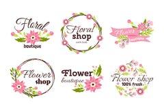 Blom- shoppa för rammallen för emblemet den dekorativa illustrationen för vektorn Royaltyfri Foto
