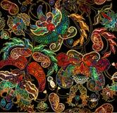 Blom- sjaskig exotisk orientalisk modellnarrdräkt stock illustrationer