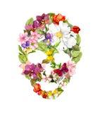 Blom- skalle med blommor vattenfärg stock illustrationer