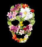 Blom- skalle med tappningblommor Vattenfärg för allhelgonaafton Royaltyfria Foton