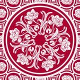 Blom- sömlös bakgrund med en mandala i stilen av kinesisk målning Royaltyfri Foto
