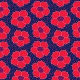 Blom- sömlös bakgrund. Röd blommamodell. Royaltyfri Fotografi