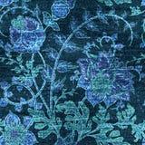 Blom- sömlös modell för vektorgrov bomullstvill Jeansbakgrund med steg blommor blå torkduk Royaltyfri Fotografi