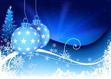 blom- snöig för blå jul vektor illustrationer