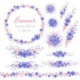 Blom- sommarblåttbuketter med bruna filialer Cliparts för att gifta sig designen, konstnärlig skapelse stock illustrationer