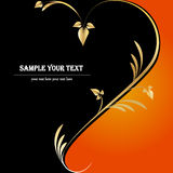 Blom- svart orange guld- bakgrundshjärta Royaltyfria Foton