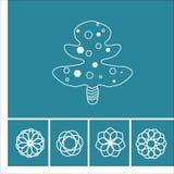 Blom- symboler och träd i översiktsstil Arkivfoton