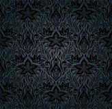 Blom- tappningbakgrund för svarta utsmyckade blommor royaltyfri illustrationer
