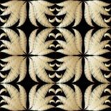 Blom- texturerad s?ml?s modell f?r guld- vektor 3d Ytbehandla broderigrungebakgrund Dekorativa broderade blommor f?r tappning, stock illustrationer