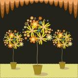 Blom- träd stock illustrationer