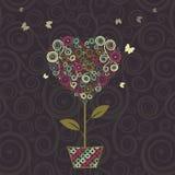 Blom- träd, hjärtaform i krukan för din design royaltyfri illustrationer