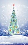 blom- tree för jul vektor illustrationer