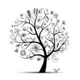 Blom- treeblack för konst för din design 免版税图库摄影
