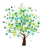 blom- treevektor Royaltyfria Bilder