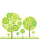 blom- treevektor för bakgrund stock illustrationer