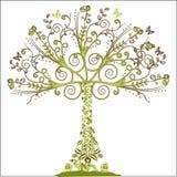 blom- treevektor för element vektor illustrationer
