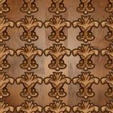Blom- tryck träskulpturabstrakt begrepp lämnar den sömlösa modellen royaltyfria bilder