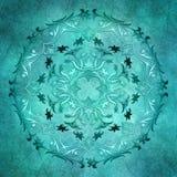 Blom- turkosmandala på grungebakgrund Royaltyfri Fotografi