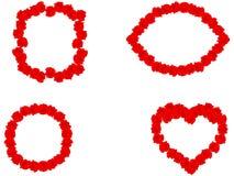Blom- uppsättning av ramen för röda rosor på vit, vektor eps 10 stock illustrationer