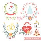 Blom- uppsättning för tappning med bröllopobjekt stock illustrationer