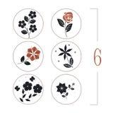 Blom- uppsättning med blomma-, sida- och fjärilskonturer Royaltyfri Bild