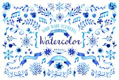 Blom- uppsättningillustration för vattenfärg Royaltyfri Bild