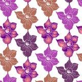 Blom- utskrivaven sömlös modell med färgrika konturblommor vektor illustrationer