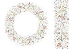 Blom- vårbeståndsdelar med gulliga grupper av vallmo och lösa blommor Ändlös modellborste För romantisk bröllopdesign Royaltyfri Bild